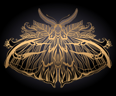 Graphic illustration with mystic moth and occult hand drawn symbols. Astrological and esoteric freemasonry concept. Old vintage style.Vector illustration.