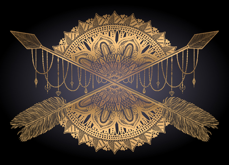 Arrow crossing amulet in ethical and mandala in style tattoo.Gold color graphic in black background. Vector illustration Ilustração