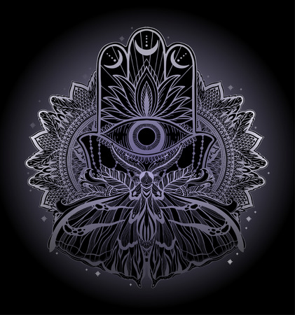 Magic Talisman religion Asian. Black color graphic in white background. Butterfly moth mandala illustration .Tattoo motif.