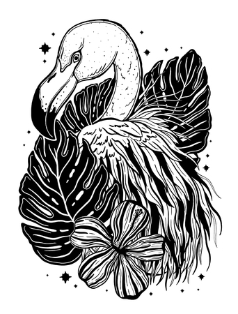 Flamingo tattoo tropical animal bird. Summer nature drawing. Black color isolated ina white background.Vector illustration. 일러스트