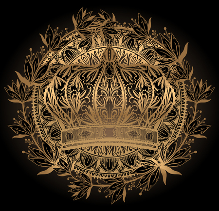 Crown king and queen elegant drawing art. Gold color in black background. Vector illustration.