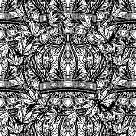 Seamless pattern crown king and queen elegant drawing art. Black color in white background. Illustration