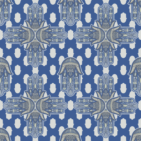 Art seamless pattern hamsa mandala. Ethnic abstract print. Colorful repeating background texture. Culture bohemian ornament.Vector illustration. Vektorové ilustrace