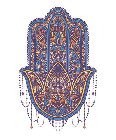 Hamsa talisman religion asiatique. Symbole de protection et talisman contre le mauvais œil.Motif de tatouage.Illustration vectorielle