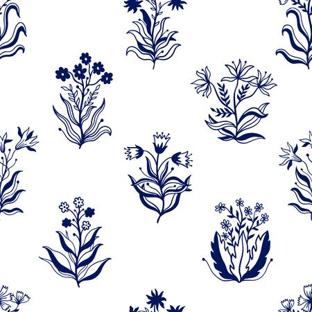 Collection de jeu de nature modèle sans couture dessinés à la main. Ornement ethnique, imprimé floral, tissu textile, élément botanique. Style rétro vintage. Image de feuilles et d'autres objets naturels. Illustration vectorielle.