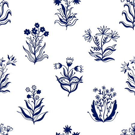 Seamless pattern nature set collection hand drawn. Ethnic ornament, floral print, textile fabric, botanical element. Vintage retro style. Image of leaves and other natural objects. Vector illustration.