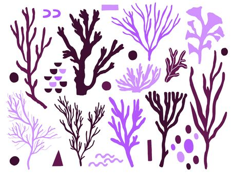 Sea animals marine naive set . Ocean shape plant and animal. Abstract shape simple style. Hand drawing creative art. Vector illustration.