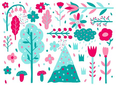 Nature flat naive set. Plants shape isolated on white background. Minimal style fantasy. Trendy creative design.Vector illustration. Vettoriali