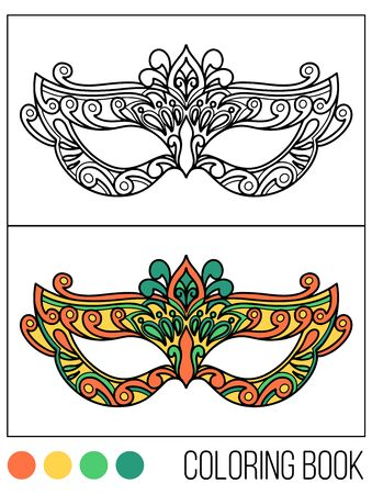 Tradition with carnival mask accessory with coloring book.Decoration festive elegant party design.