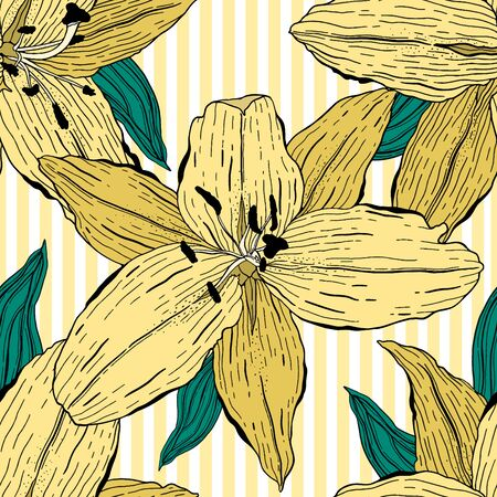 Seamless pattern nature lily flower.Floral ornament,botanical romantic ethnic.