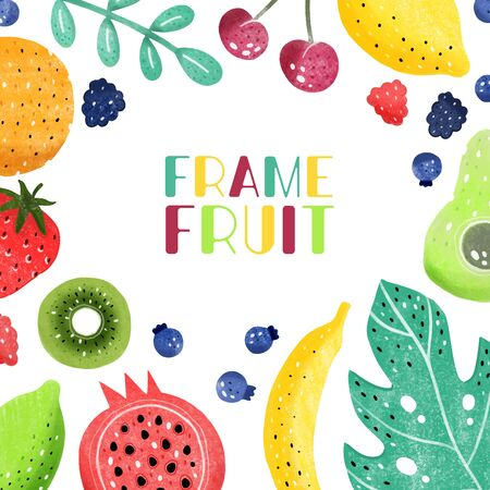 Fruit set isolated in white background.Hand drawn style. Vector illustration