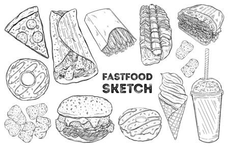 Fastfood sketch set. Hand drawing food. All elements are isolated in white background.Vector illustration.