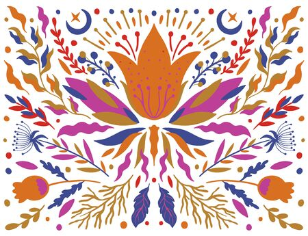 Ethnic folk flower bright color in white background.Symmetry specular composition.Traditional ornament.