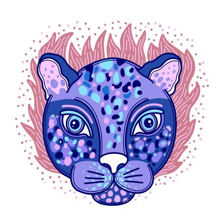 Animal face leopard creative concept.Hand drawn naive style.