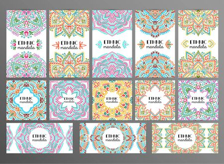 Graphic round mandala abstract banner set. Boho indian shape card.Ethnic oriental style illustration. Illusztráció