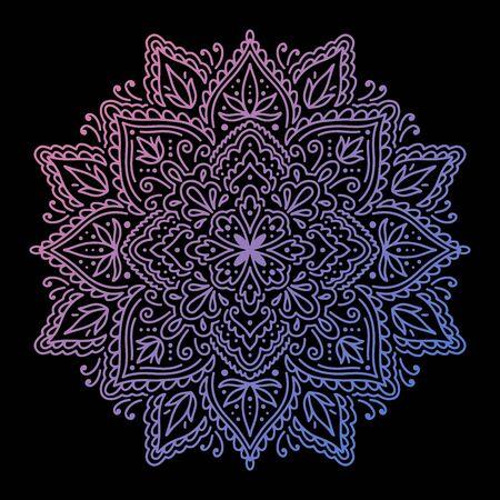 Graphic round mandala gradient abstract.Boho indian shape.Ethnic oriental style.vector illustration.