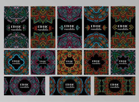 Graphic round mandala abstract banner set.Boho indian shape card.Ethnic oriental style. Illusztráció
