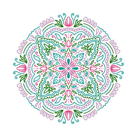 Graphic round mandala abstract isolated in white background.Boho indian shape.Ethnic oriental style.vector illustration.
