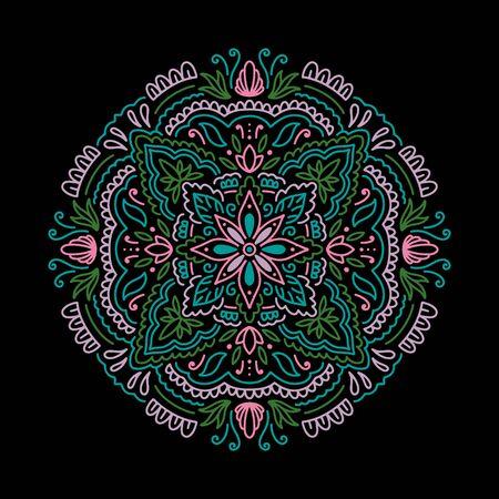 Graphic round mandala abstract isolated in black background..Boho indian shape.Ethnic oriental style.vector illustration. Illusztráció