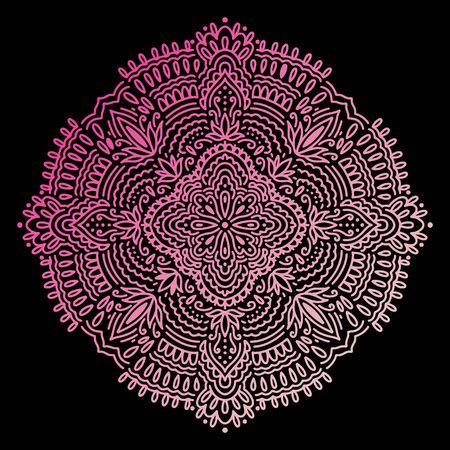 Graficzny okrągły abstrakcyjny gradient mandali. Boho indyjski kształt. Etniczny styl orientalny.