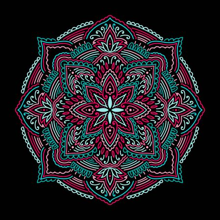 Graphic round mandala abstract isolated in black background.Boho indian shape.Ethnic oriental style.