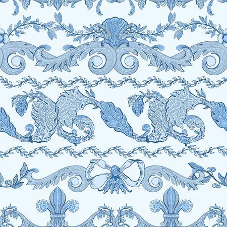 Seamless pattern baroque blue color.Vintage floral victorian ornamental.