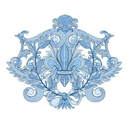Decorative design element baroque blue color.Vintage floral victorian ornamental.