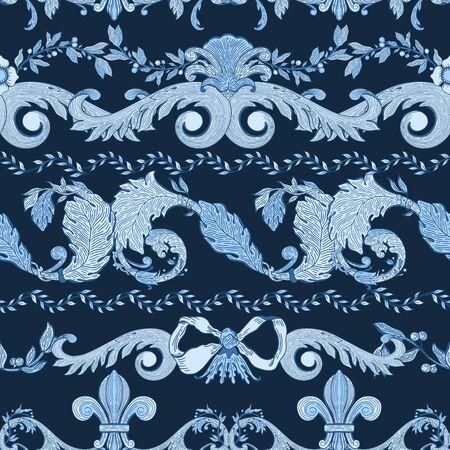 Seamless pattern baroque blue color.Vintage floral victorian ornamental.Vector illustration Иллюстрация