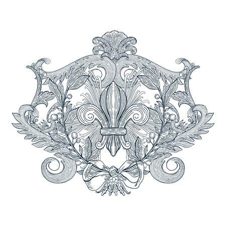 Élément de design décoratif de couleur bleue baroque.Vintage floral victorien ornemental.Vector illustration.