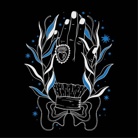 Hand magic inspiration fortune chiromancy.Occult mystic symbol, graphic design tattoo. Esoteric sign alchemy, decorative style. Vector illustration.