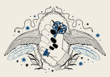 Hand holding a key with wings.Occult mystic emblem, graphic design tattoo. Esoteric sign alchemy, decorative style.Vector illustration. Illustration
