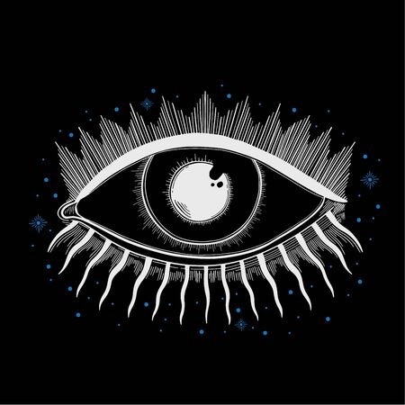 Evil Seeing eye symbol. Occult mystic emblem, graphic design tattoo. Esoteric sign alchemy, decorative style, providence sight. Stock Vector - 139227688