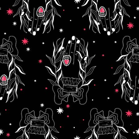 Seamless pattern hand palmistry.Vintage mystic drawing style.