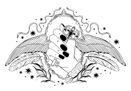Hand, die einen Schlüssel mit Flügeln hält. Okkultes mystisches Emblem, Grafikdesigntätowierung. Esoterische Zeichenalchemie, dekorativer Stil.