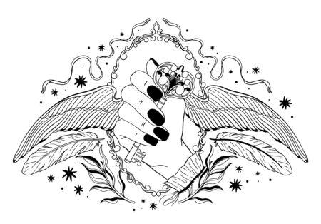 Main tenant une clé avec des ailes. Emblème mystique occulte, tatouage de conception graphique. Alchimie de signe ésotérique, style décoratif.