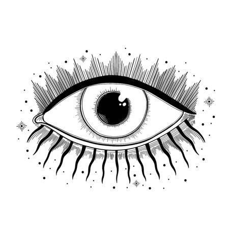 Evil Seeing eye symbol. Occult mystic emblem, graphic design tattoo. Esoteric sign alchemy, decorative style, providence sight. Illustration