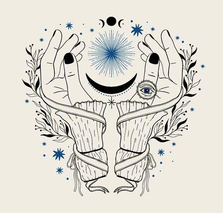 Hand magic inspiration fortune chiromancy.Occult mystic symbol, graphic design tattoo. Esoteric sign alchemy, decorative style.