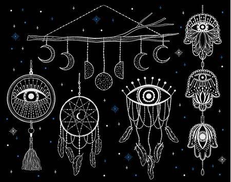 Mystic dream Catcher.Hand draw vintage line style.Boho ethnic amulet. Çizim