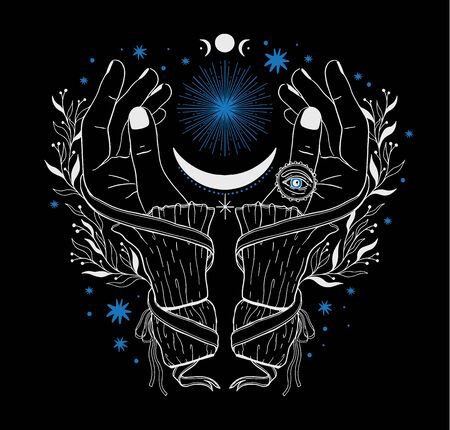 Hand magic inspiration fortune chiromancy. Occult mystic symbol, graphic design tattoo. Esoteric sign alchemy, decorative style.