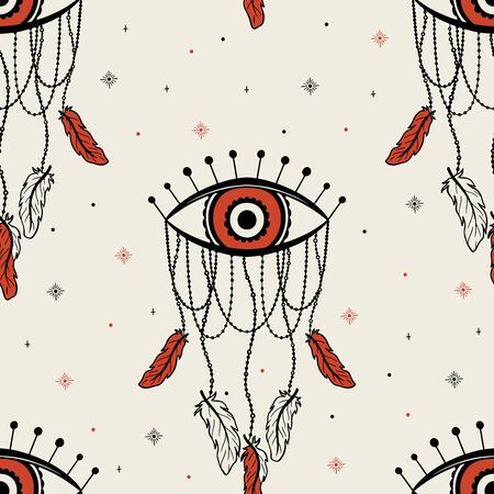 Seamless pattern dream catcher.Vintage bohemian drawing style.Vector illustration.