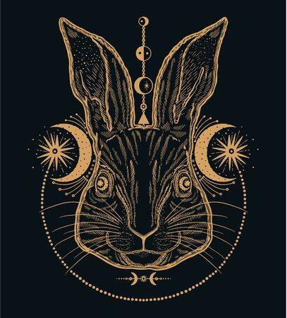 Rabbit animal magic  line.Gold line in black background.Vintage style tattoo.Vector illustration.