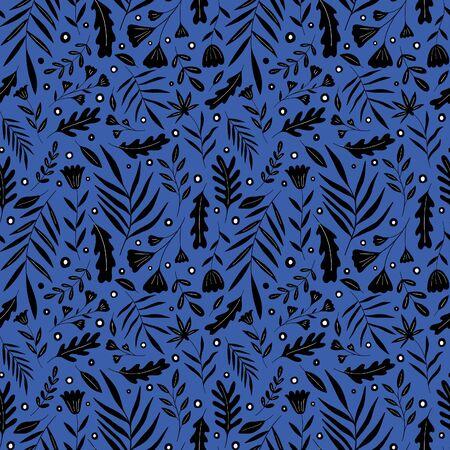 Seamless pattern plant nature.  paint style. Фото со стока