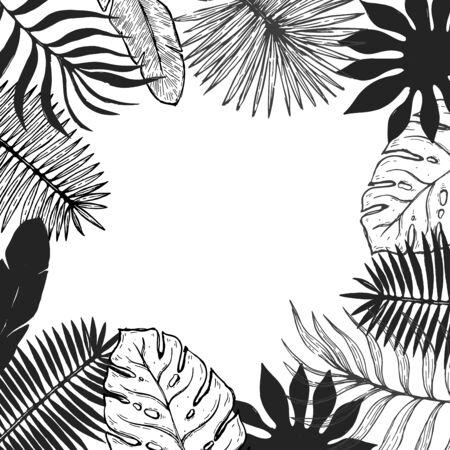 Tropical plant leaf frame.Botanical floral element background. Vector illustration. Иллюстрация