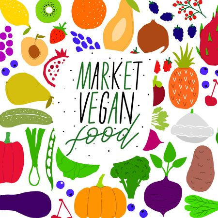 Vegan fruit and vegetable market. Design farm natural vitamin.