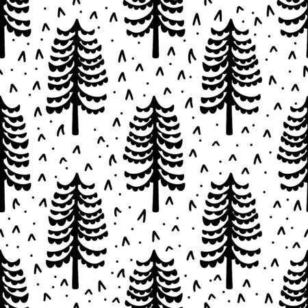 Seamless pattern nature forest wildlife Canada.Season winter park.Vector illustration.