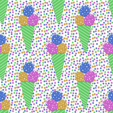 Ice-cream summer seamless pattern. Bright color. Hand drawn style. Stock Illustratie