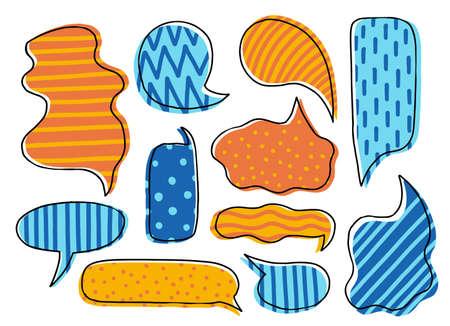 Collection hand drawn communicate speech. Design element business message. Vector illustration.