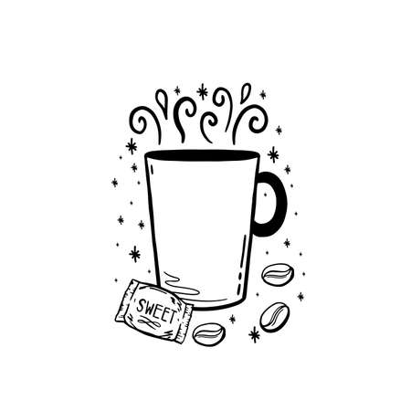 Doodle coffee drink sketch.Arabica aroma design menu cafe.Black element isolated in white background.Vector illustration.  イラスト・ベクター素材