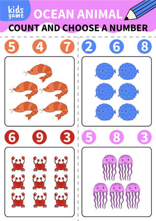 Children board game for preschoolers and primary school students.Page for kids educational book.Underwater life and marine animals.Vector cartoon style.