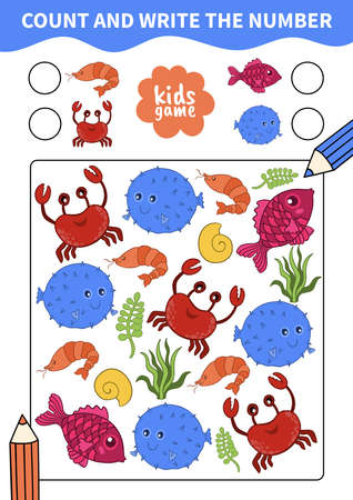 Children board game for preschoolers and primary school students worksheets.Page for kids educational book.Underwater life and marine animals.Vector cartoon style.